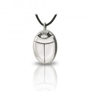 Large silver scarab pendant front by Scarab Jewellery Studio