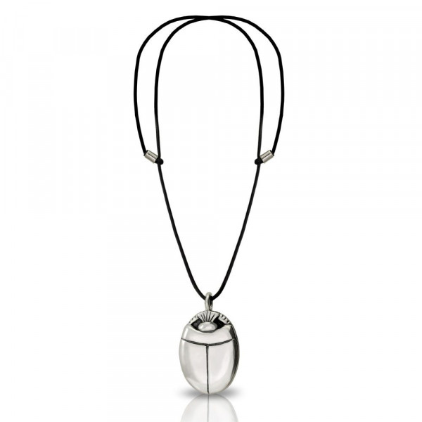 Large silver scarab pendant with leather thong by Scarab Jewellery Studio