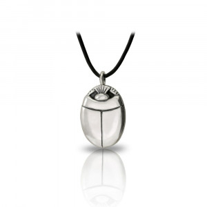 Medium Silver Scarab Pendant Front by Scarab Jewellery Studio