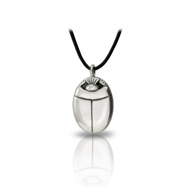 Medium Silver Scarab Pendant Front by Scarab Jewellery Studio