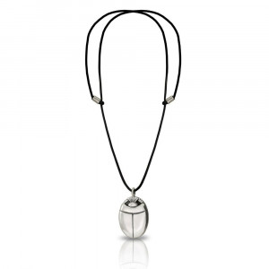 Medium Silver Scarab Pendant with Leather thong by Scarab Jewellery Studio