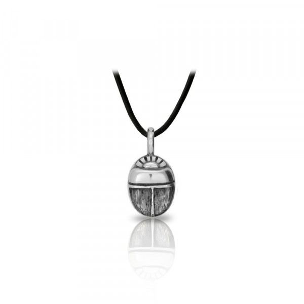 Small Detailed Egyptian Silver Scarab Pendant Front by Scarab Jewellery Studio