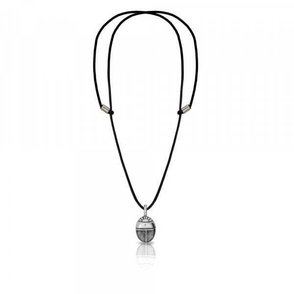 Small Detailed Egyptian Silver Scarab Pendant with leather thong by Scarab Jewellery Studio