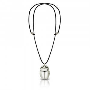 Alexandria Egyptian Silver Scarab Pendant with leather thong by Scarab Jewellery Studio