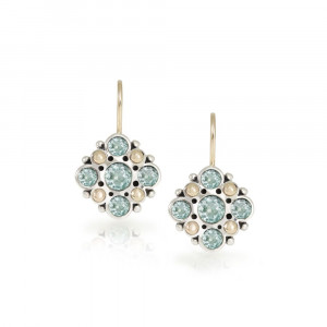 Victorian earrings blue topaz set in Silver with yellow gold beads by Scarab Jewellery Studio Cape Town