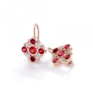 Victorian earrings Red Sapphires Diamonds set in Red Gold by Scarab Jewellery Studio Cape Town