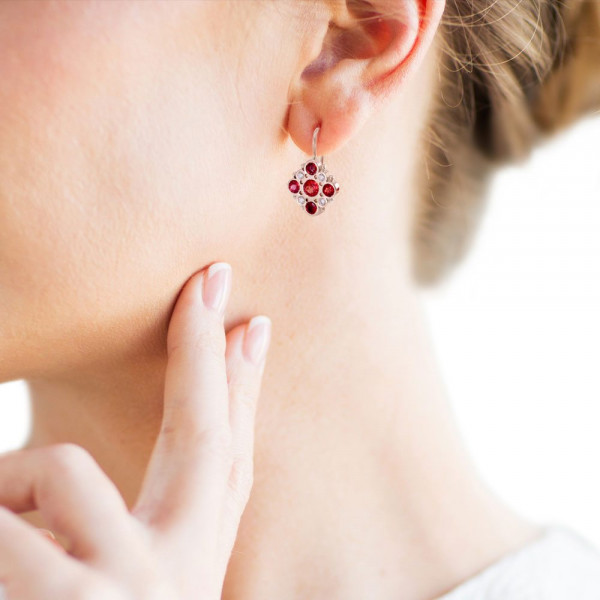 Victorian earrings Red Sapphires Diamonds set in Red Gold with yellow gold beads by Scarab Jewellery Studio Cape Town