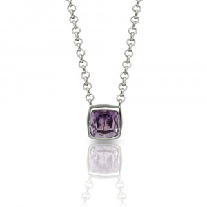 "Amethyst Silver Pendant - P64 ""Boxy"" by Scarab Jewellery Studio - February Birthstone Jewellery"