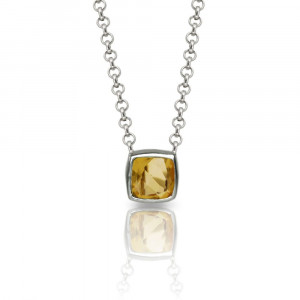 "Citrine Silver Pendant - P64 ""Boxy"" by Scarab Jewellery Studio"