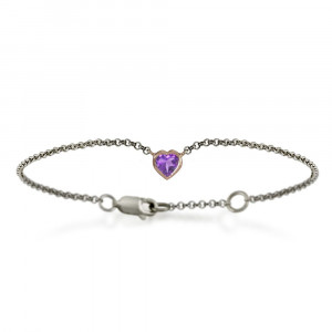 Silver 9ct red gold dainty amethyst heart bracelet by Scarab Jewellery Studio - February Birthstone Jewellery