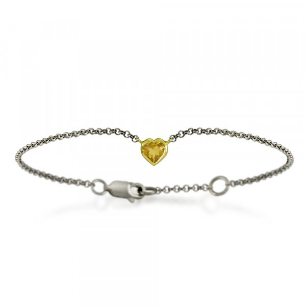 Silver 9ct yellow gold dainty citrine heart bracelet by Scarab Jewellery Studio