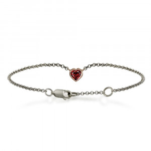 Silver 9ct red gold dainty garnet heart bracelet by Scarab Jewellery Studio