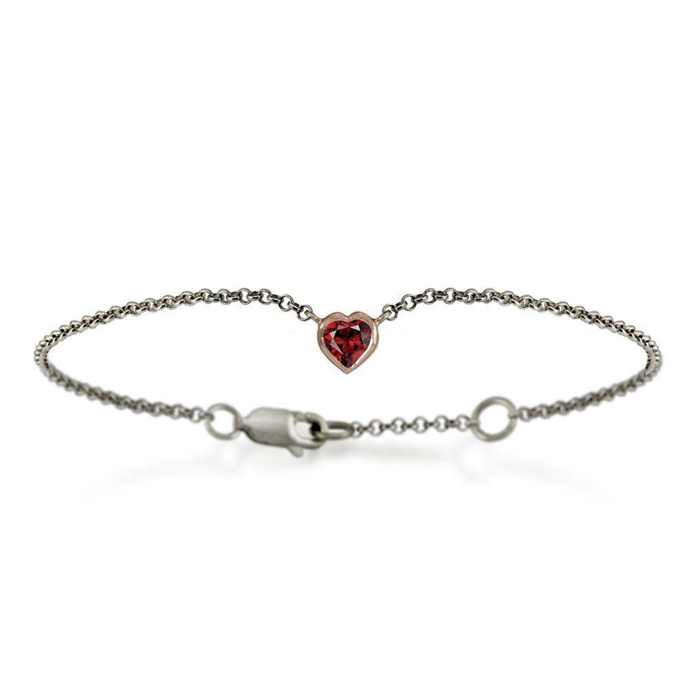 Silver 9ct red gold dainty garnet heart bracelet by Scarab Jewellery Studio