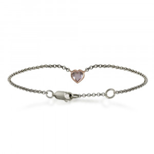 Silver 9ct red gold dainty rose quartz heart bracelet by Scarab Jewellery Studio