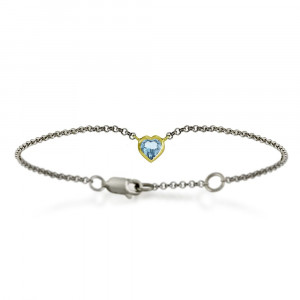 Silver 9ct yellow gold dainty blue topaz heart bracelet by Scarab Jewellery Studio