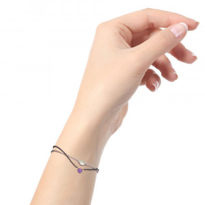 Silver 9ct red gold dainty amethyst heart bracelet by Scarab Jewellery Studio