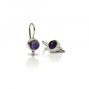 silver amethyst drop earrings by Scarab Jewellery Studio