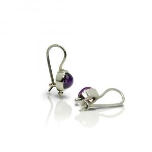 silver amethyst drop earrings by Scarab Jewellery Studio