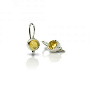 silver citrine drop earrings by Scarab Jewellery Studio