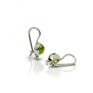 silver peridot drop earrings by Scarab Jewellery Studio