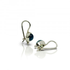 silver blue topaz drop earrings by Scarab Jewellery Studio