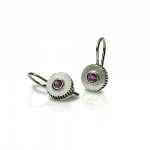 Amethyst Silver Round Cog Earrings by Scarab Jewellery Studio - February Birthstone Jewellery