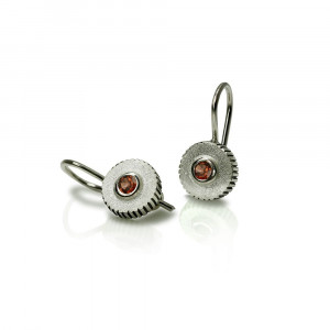 Garnet Silver Round Cog Earrings by Scarab Jewellery Studio