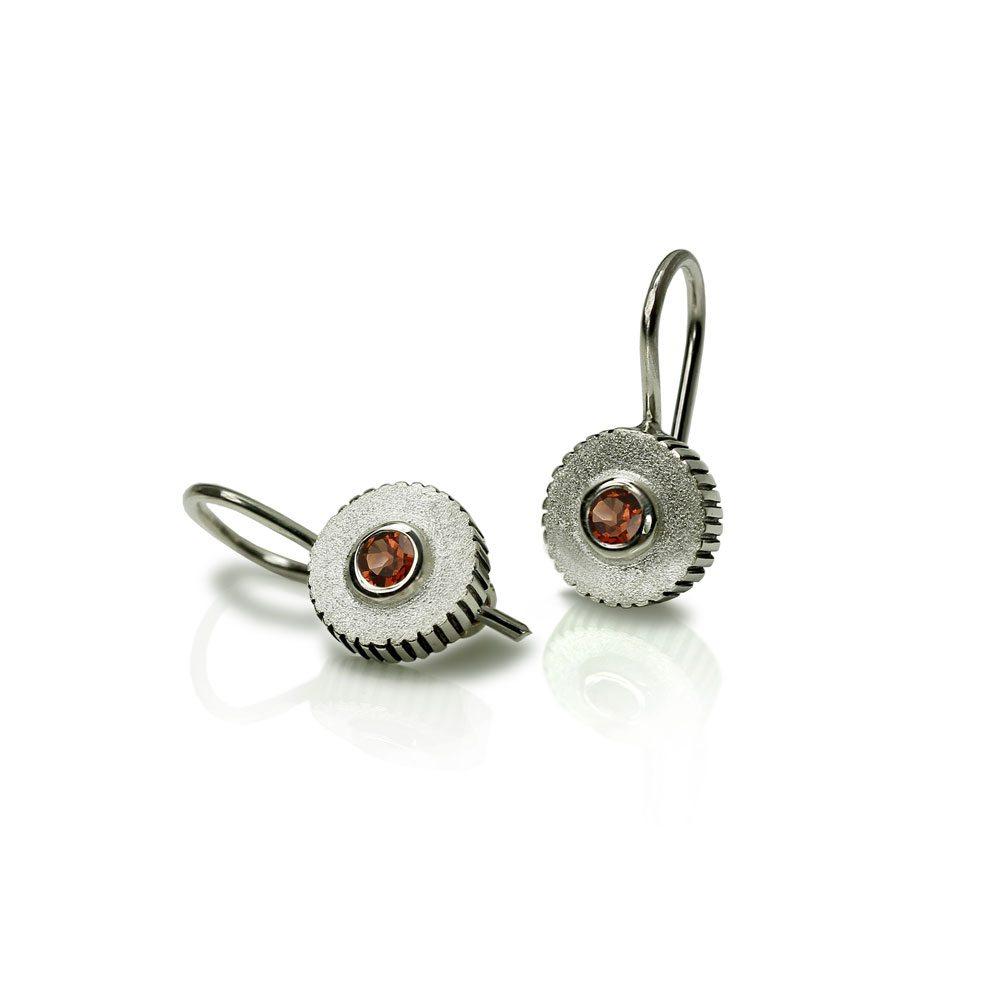 Garnet Silver Round Cog Earrings by Scarab Jewellery Studio