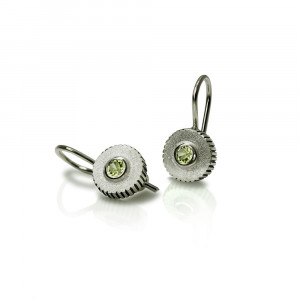 Peridot Silver Round Cog Earrings by Scarab Jewellery Studio