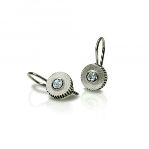 Blue Topaz Silver Round Cog Earrings by Scarab Jewellery Studio