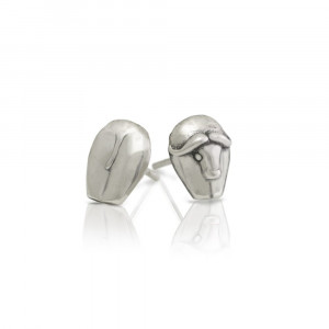 Silver African Buffalo Earrings by Scarab Jewellery Studio