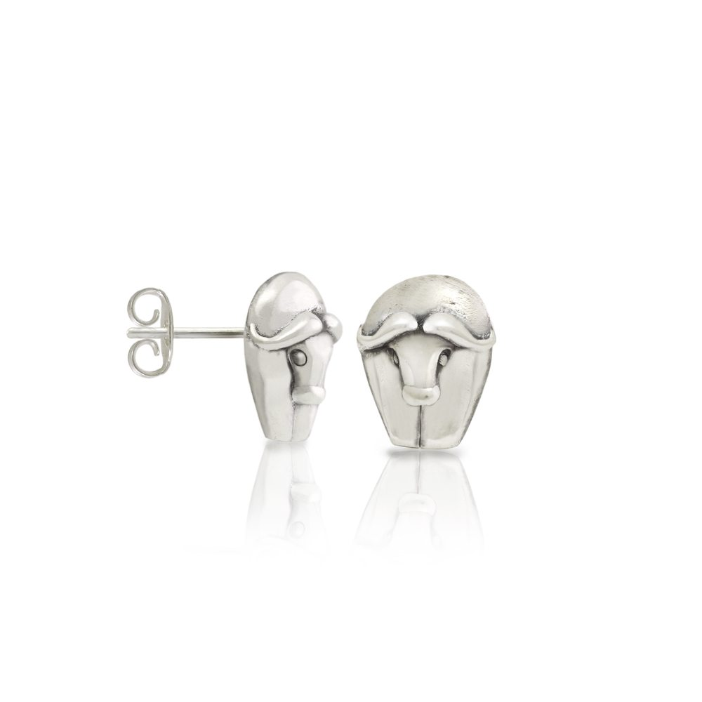 Silver African Buffalo Earrings by Scarab Jewellery Studio