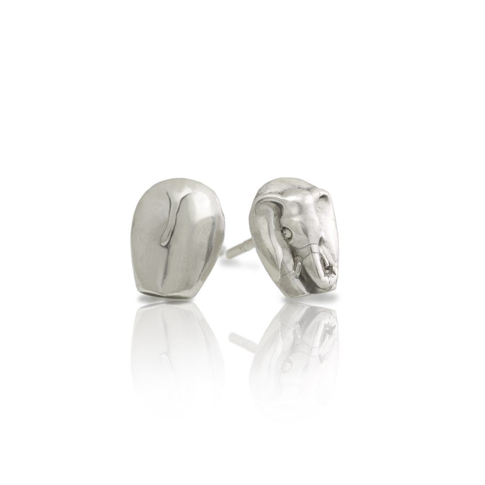 Silver African Elephant Earrings by Scarab Jewellery Studio