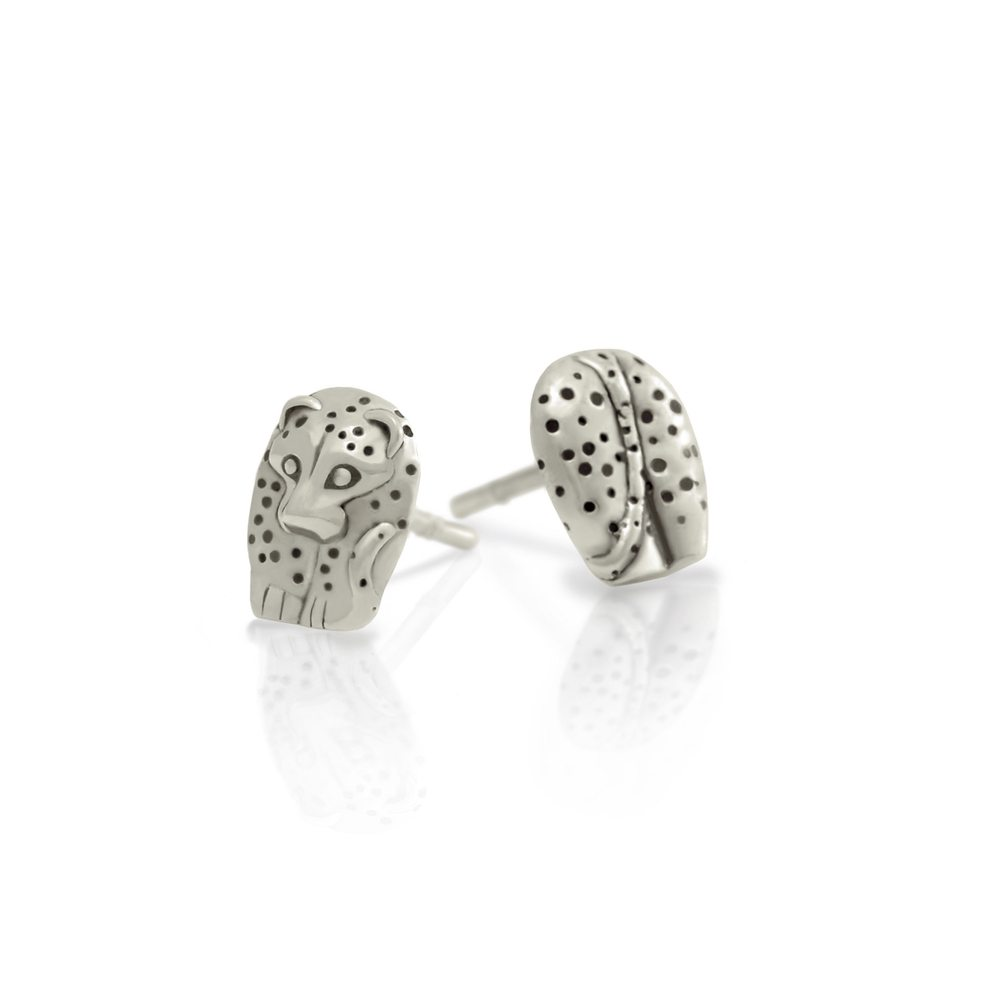 Silver African Leopard Earrings by Scarab Jewellery Studio