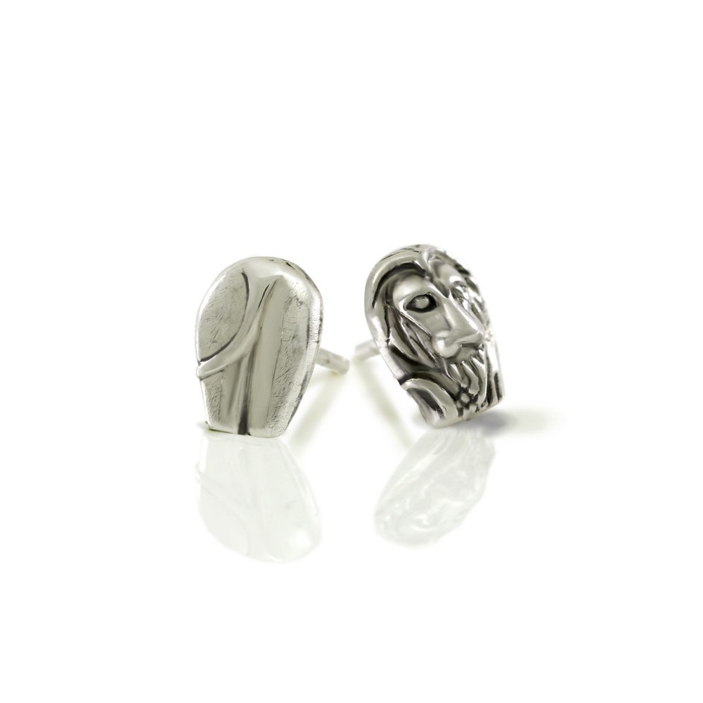 Silver African Lion Earrings by Scarab Jewellery Studio