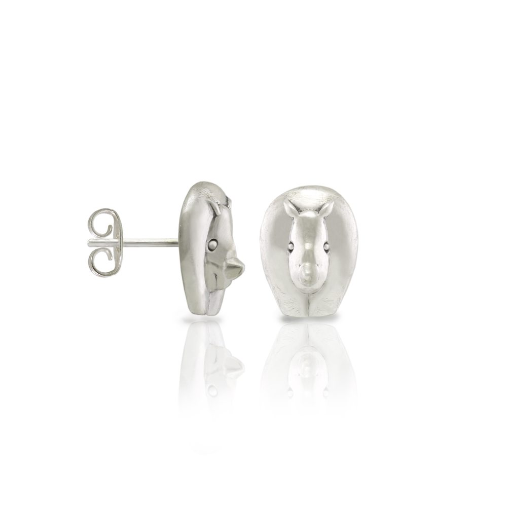 Silver African Rhino Earrings by Scarab Jewellery Studio