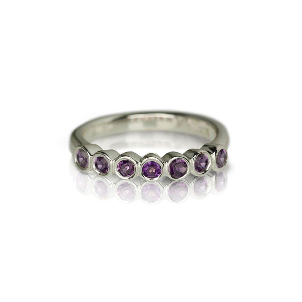 Silver Seven Stone Amethyst Ring by Scarab Jewellery Studio