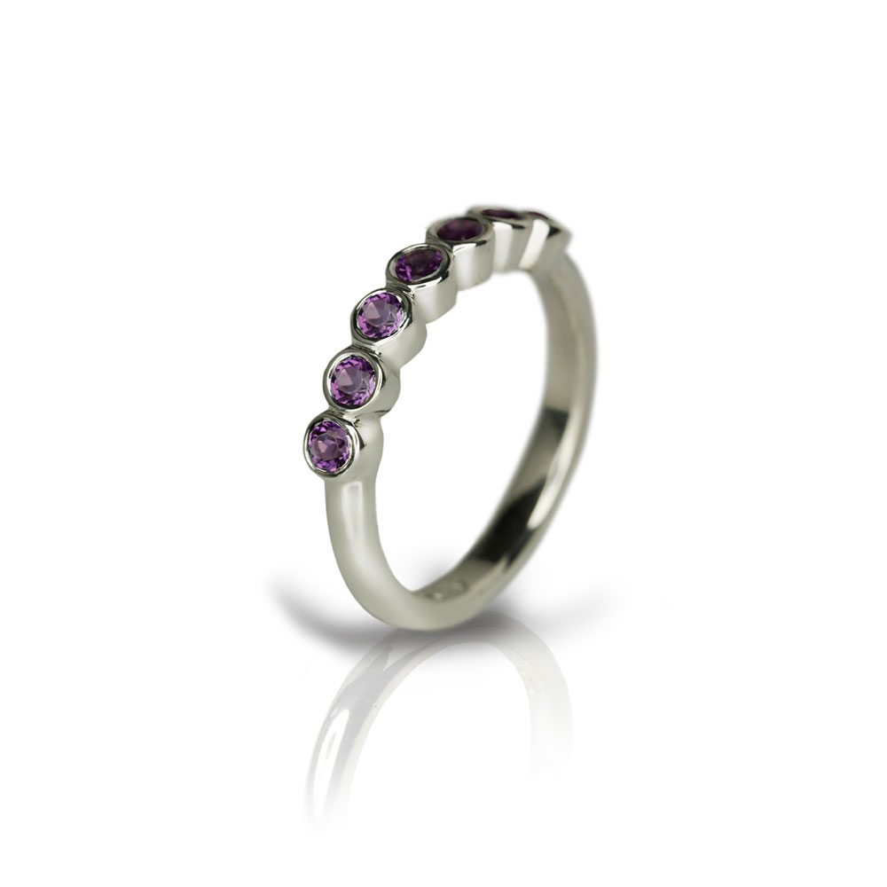 Silver Seven Stone Amethyst Ring by Scarab Jewellery Studio