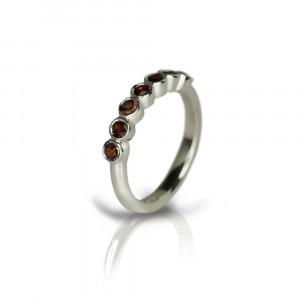Silver Seven Stone Garnet Ring by Scarab Jewellery Studio