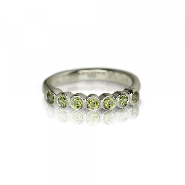 Silver Seven Stone Peridot Ring by Scarab Jewellery Studio