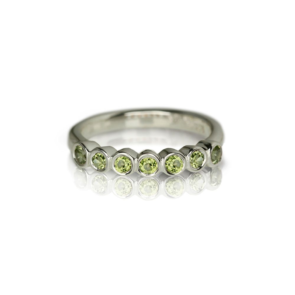 Silver Seven Stone Peridot Ring by Scarab Jewellery Studio
