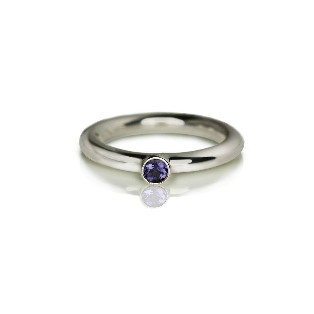 Silver Iolite Flute Ring by Scarab Jewellery Studio