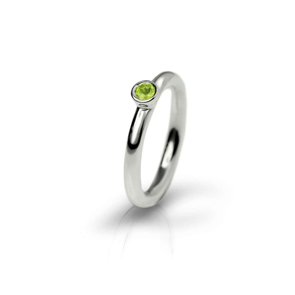 Silver Peridot Flute Ring by Scarab Jewellery Studio