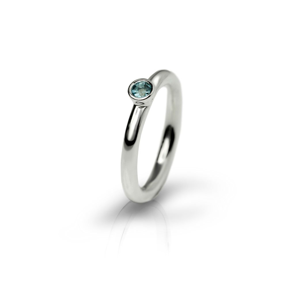 Silver Blue Topaz Flute Ring by Scarab Jewellery Studio