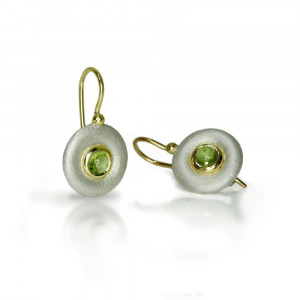 silver peridot donut earrings by Scarab Jewellery Studio