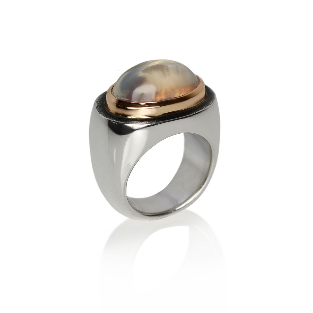 limited edition modern rock crystal ring by Scarab Jewellery Studio