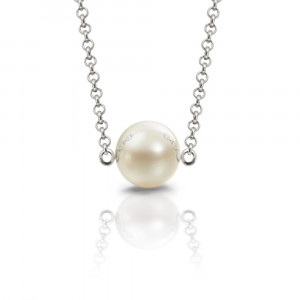 single round cultured pearl necklace friendship pendant by Scarab Jewellery Studio