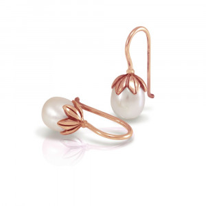 Red Gold Pearl Drop Earrings with Red Gold Cap Leaf Design by Scarab Jewellery Studio