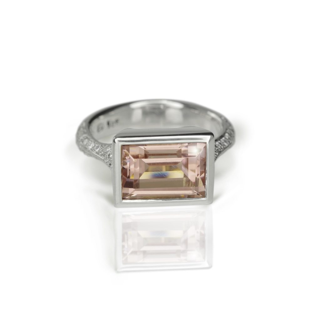 white gold pale pink tourmaline diamond ring by Scarab Jewellery Studio