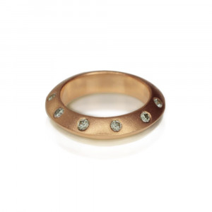 Red Gold Knife Edge Diamond Studded Stacking Ring Swiss Setting by Scarab Jewellery Studio